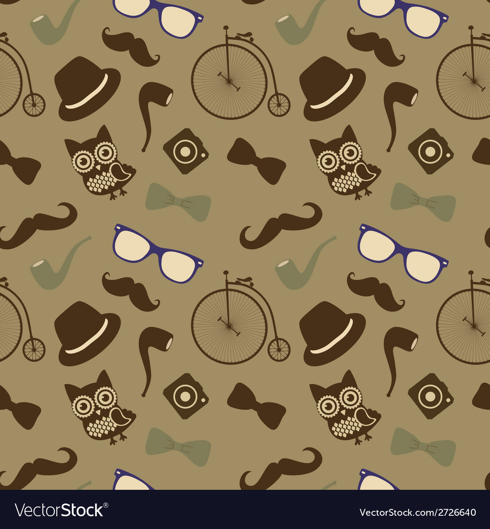 Hipster retro vintage seamless pattern vector | Price: 1 Credit (USD $1)