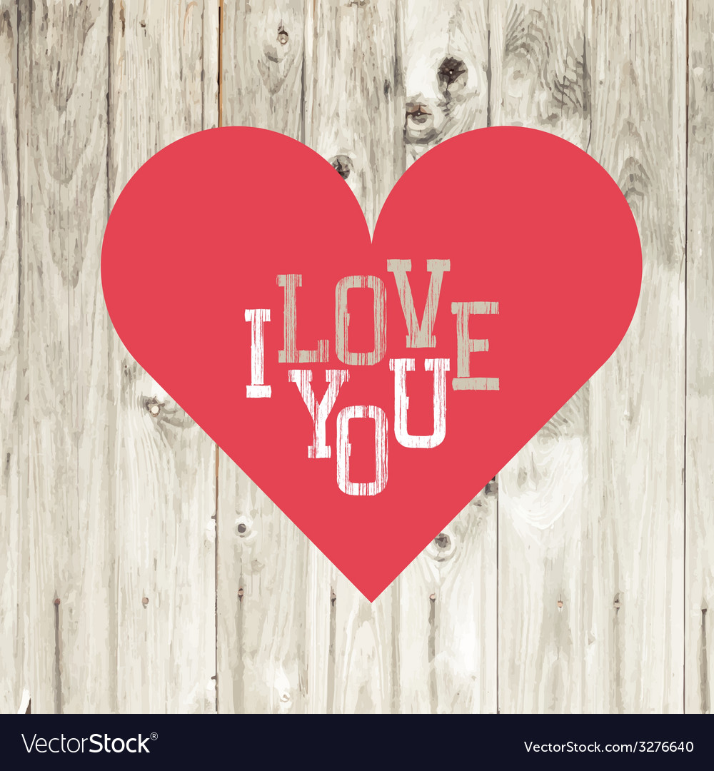 Love heart red on wooden texture vector | Price: 1 Credit (USD $1)