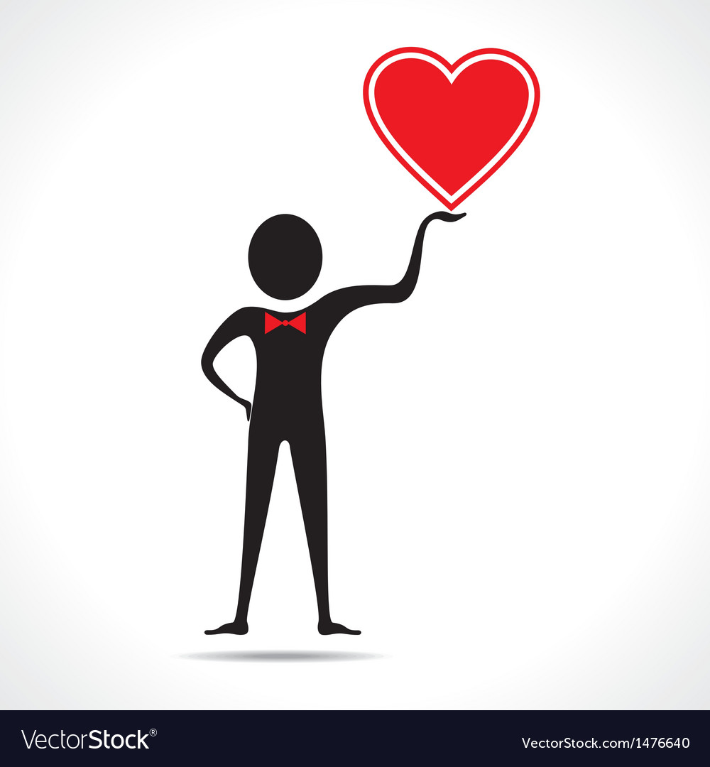Man holding a heart icon vector | Price: 1 Credit (USD $1)