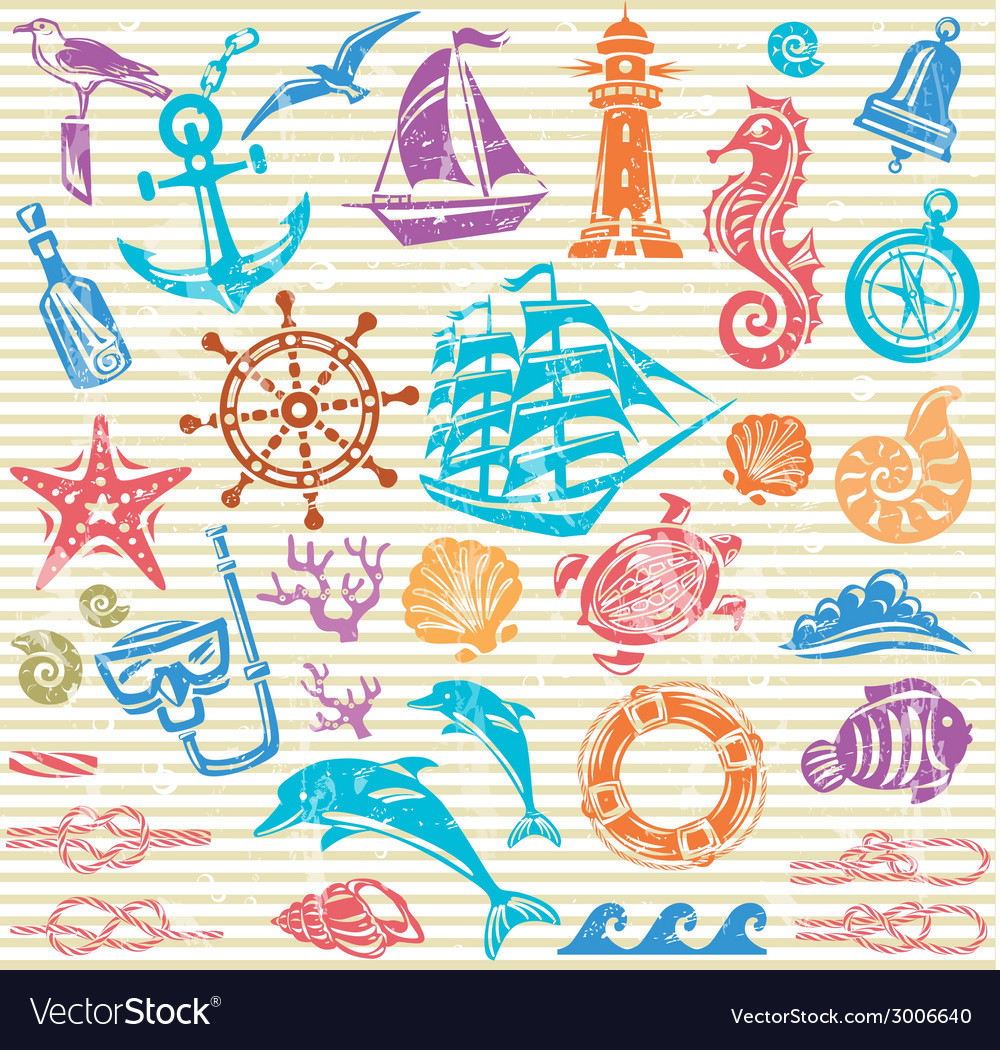 Nautical and sea set vector | Price: 1 Credit (USD $1)