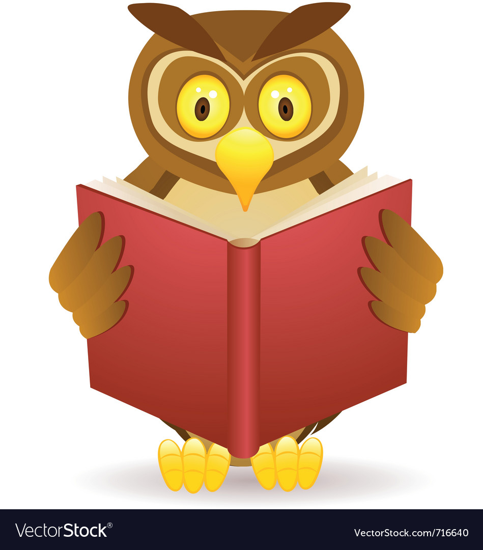 Owl reading book vector | Price: 3 Credit (USD $3)