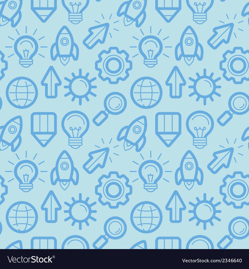 Seamless pattern with icons and signs in outline s vector | Price: 1 Credit (USD $1)