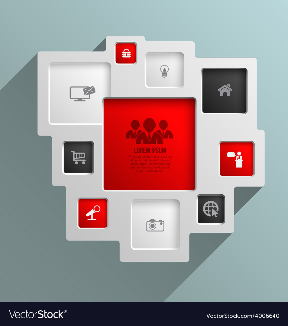 Square for business concepts with icons vector | Price: 1 Credit (USD $1)