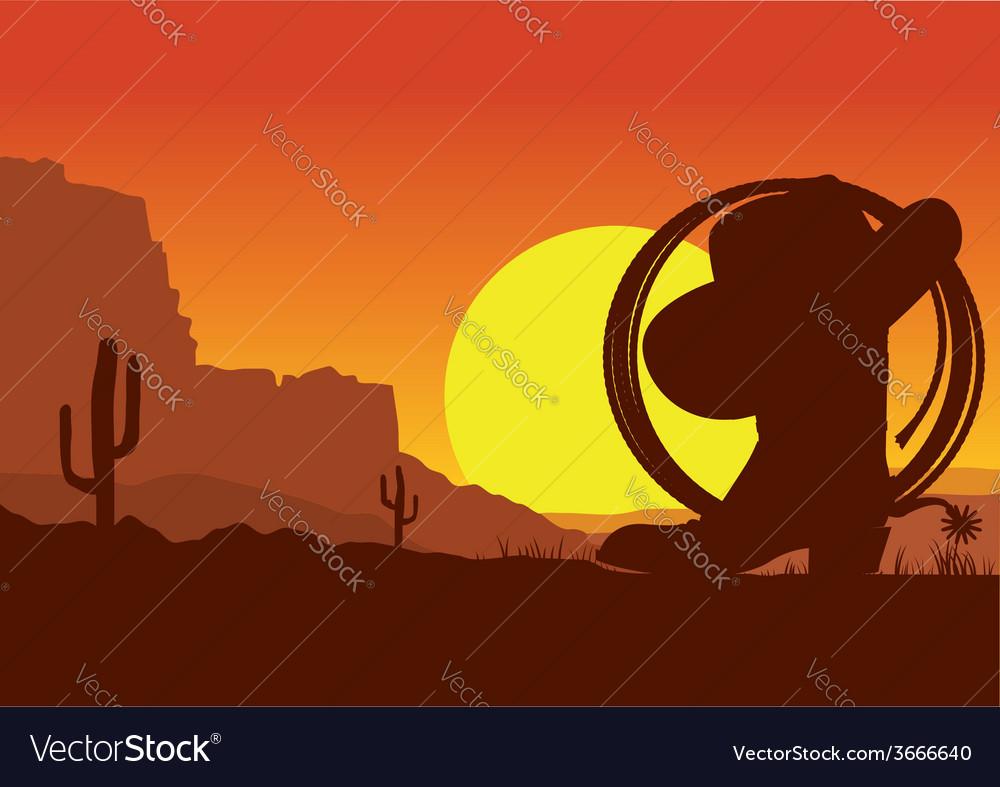 Wild west american desert landscape with cowboy vector | Price: 1 Credit (USD $1)