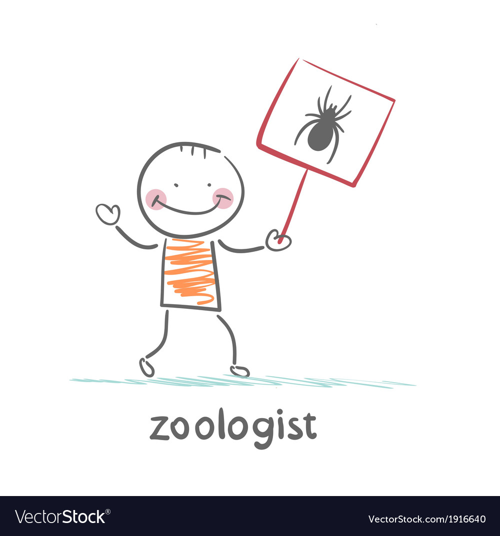 Zoologist holds a placard with a spider vector | Price: 1 Credit (USD $1)