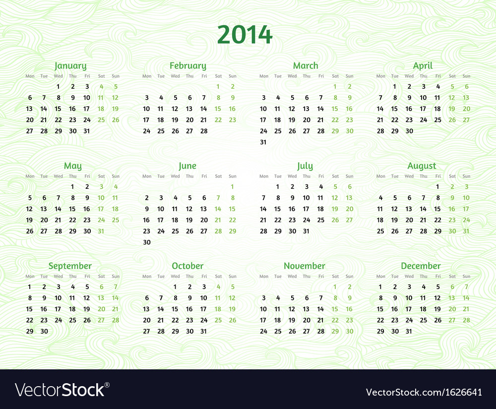 2014 year calendar on patterned wavy background vector | Price: 1 Credit (USD $1)