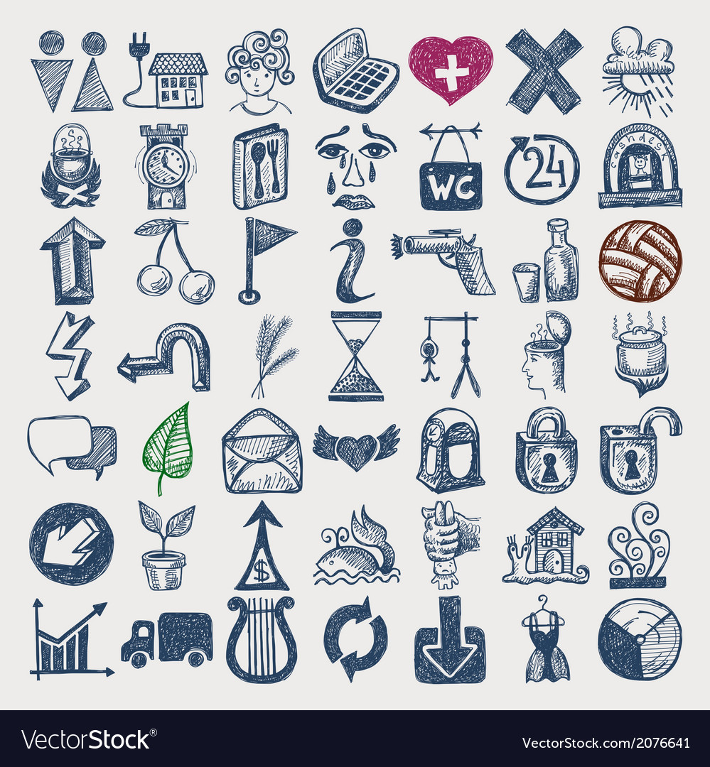 49 hand drawing doodle icon set vector   Price: 1 Credit (USD $1)