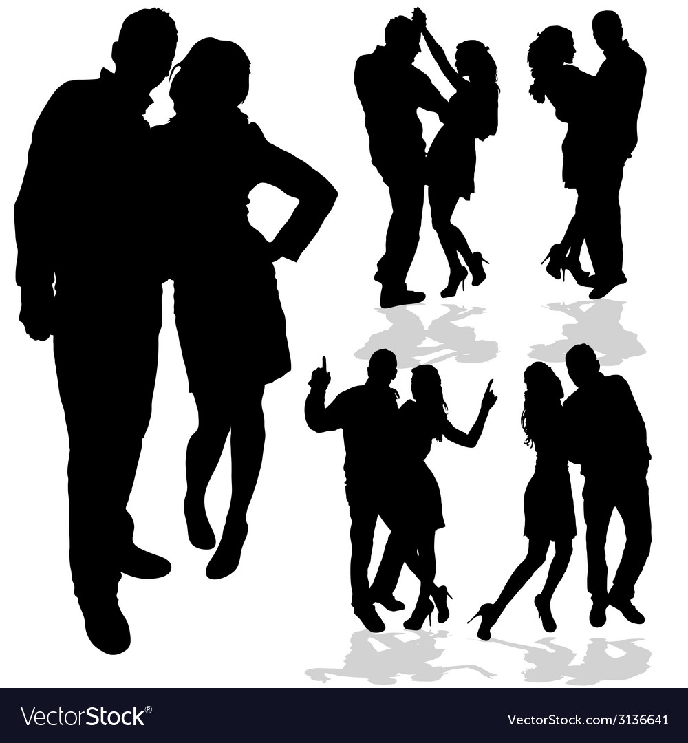 Couple man and woman in love black silhouette vector | Price: 1 Credit (USD $1)