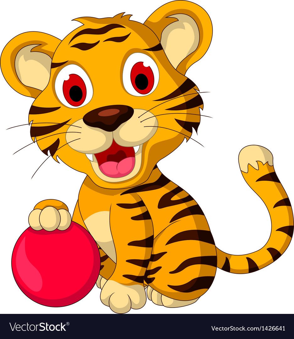 Cute baby tiger posing with pink ball vector | Price: 1 Credit (USD $1)