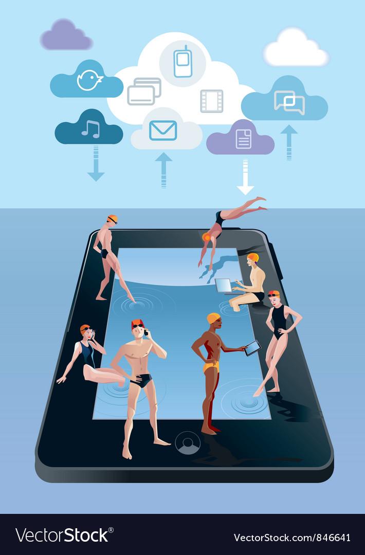 Digital tablet as swimming pool vector | Price: 3 Credit (USD $3)