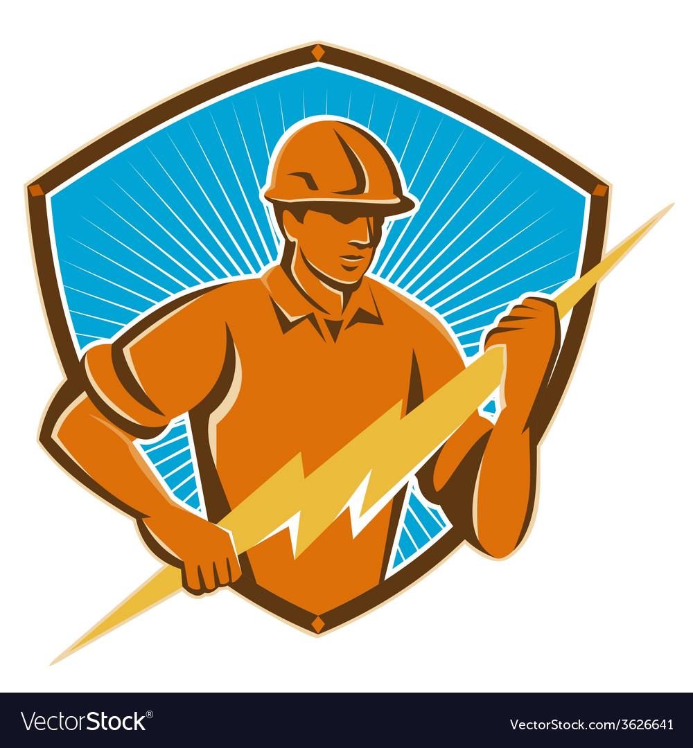 Electrician construction worker retro vector   Price: 1 Credit (USD $1)
