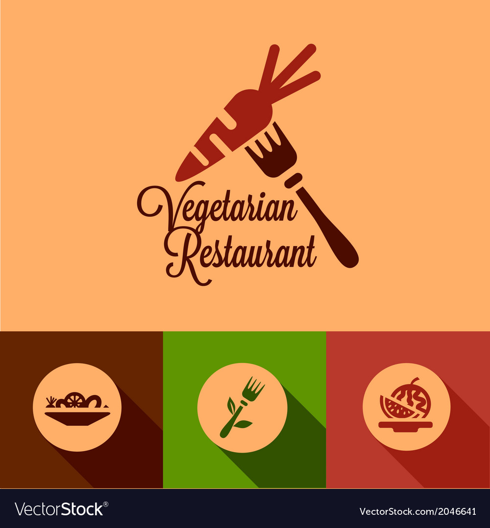 Flat vegetarian restaurant icons vector | Price: 1 Credit (USD $1)