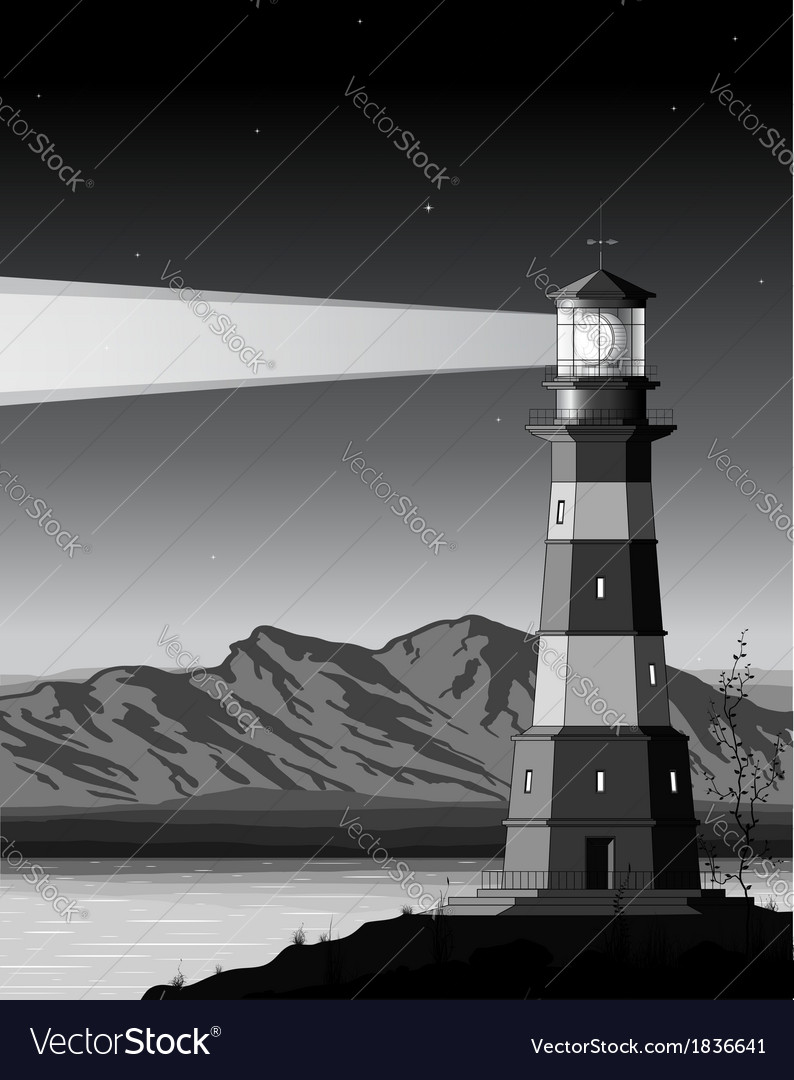 Night landscape with detailed lighthouse mountains vector   Price: 3 Credit (USD $3)