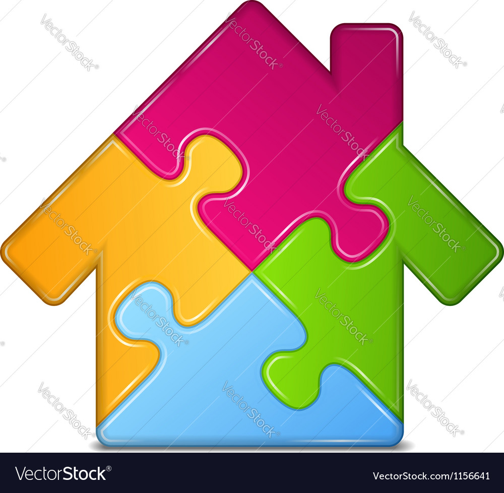Puzzle house icon vector | Price: 1 Credit (USD $1)