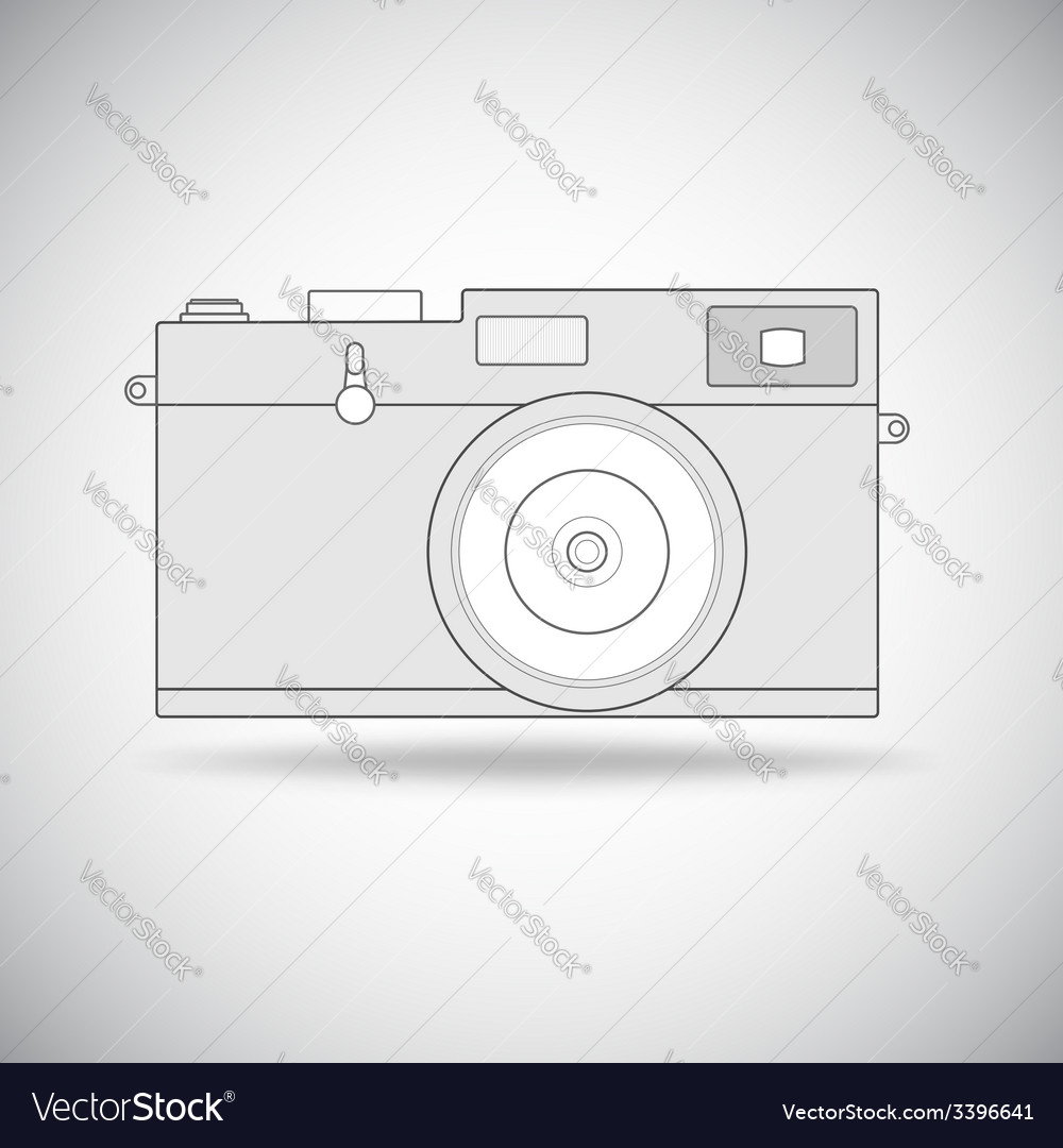 Retro photo camera outline vector | Price: 1 Credit (USD $1)