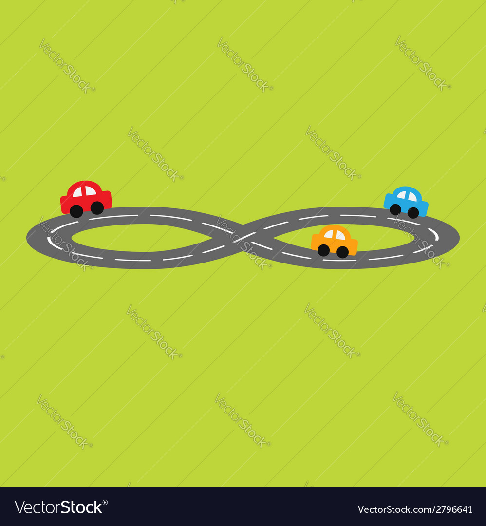 Road in shape of infinity sign and cartoon cars vector | Price: 1 Credit (USD $1)