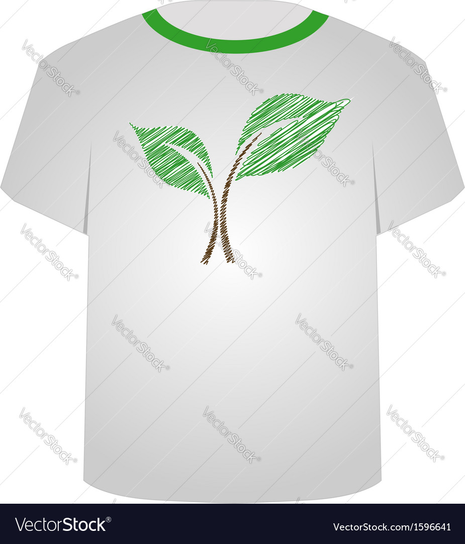 T shirt template- sketched seedling vector | Price: 1 Credit (USD $1)
