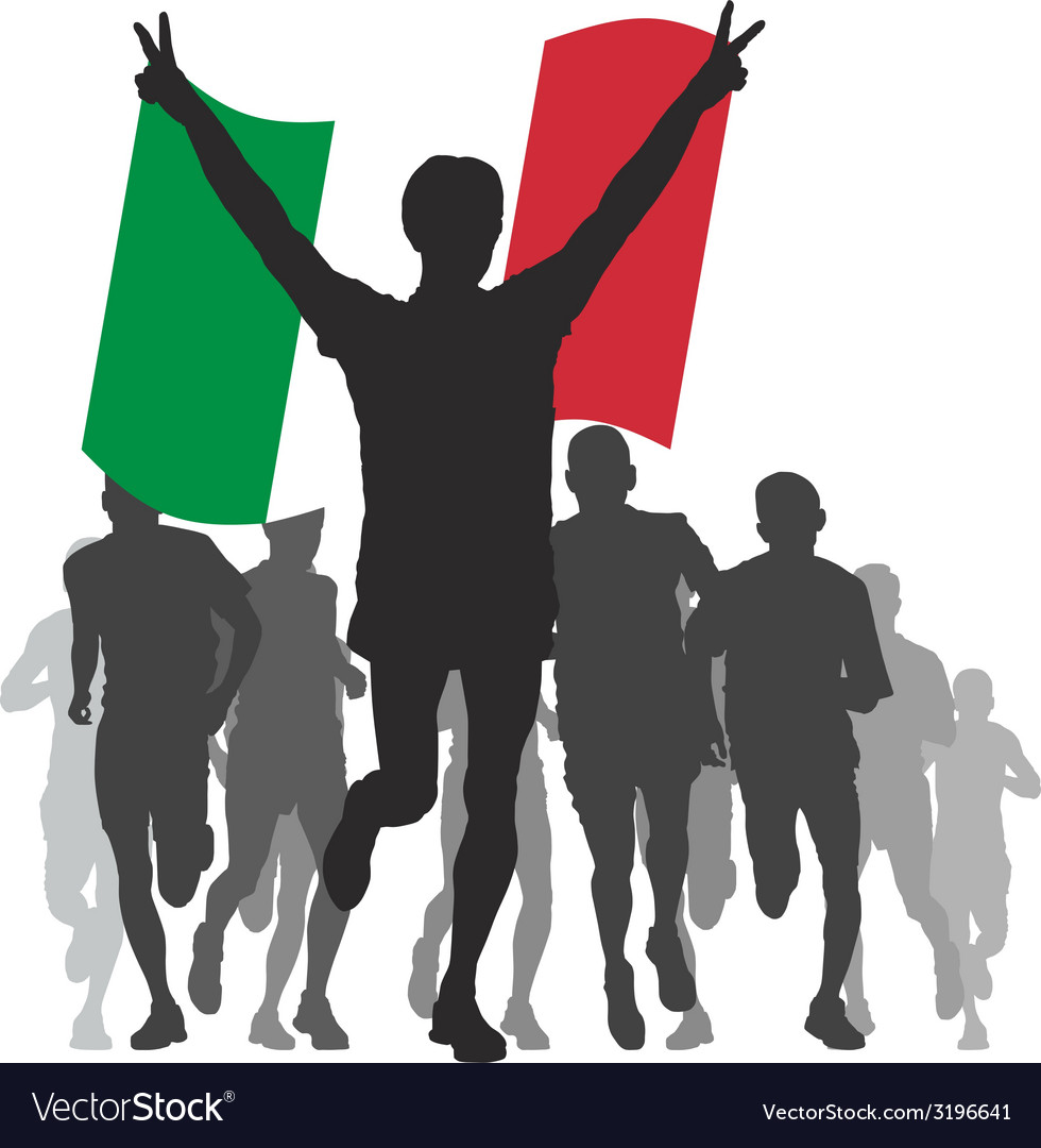 Winner with the italy flag at the finish vector | Price: 1 Credit (USD $1)