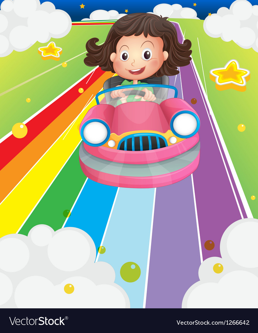 A little girl riding in a pink car vector | Price: 1 Credit (USD $1)