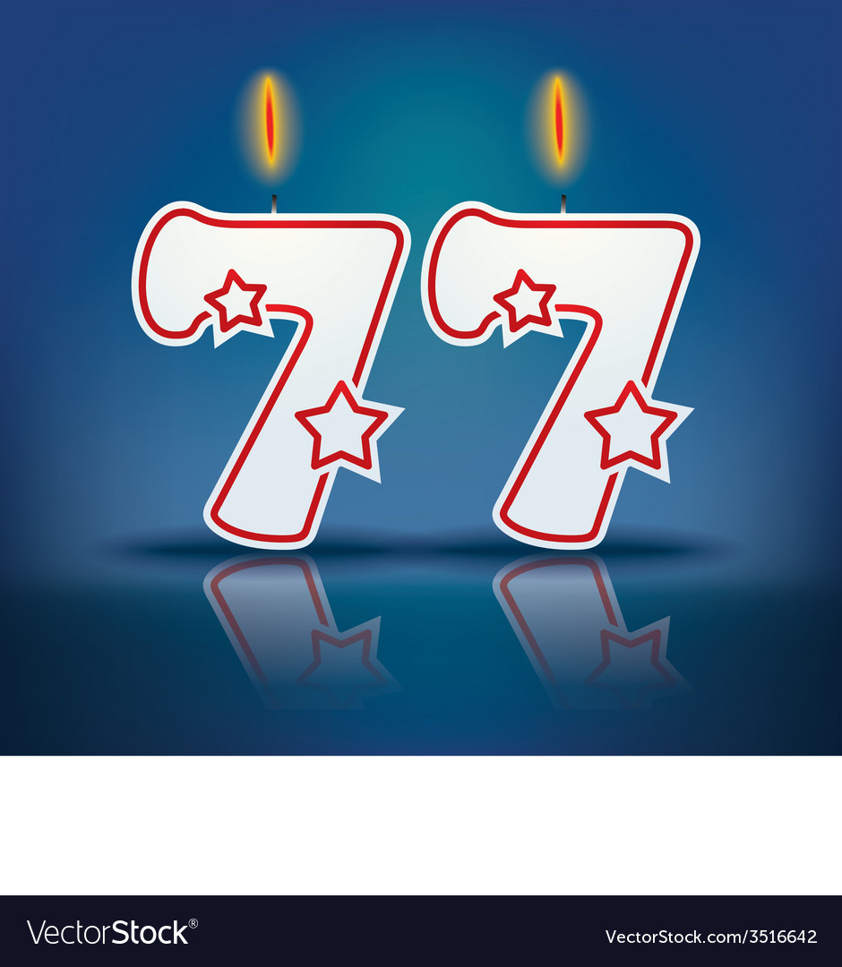 Birthday candle number 77 vector | Price: 1 Credit (USD $1)
