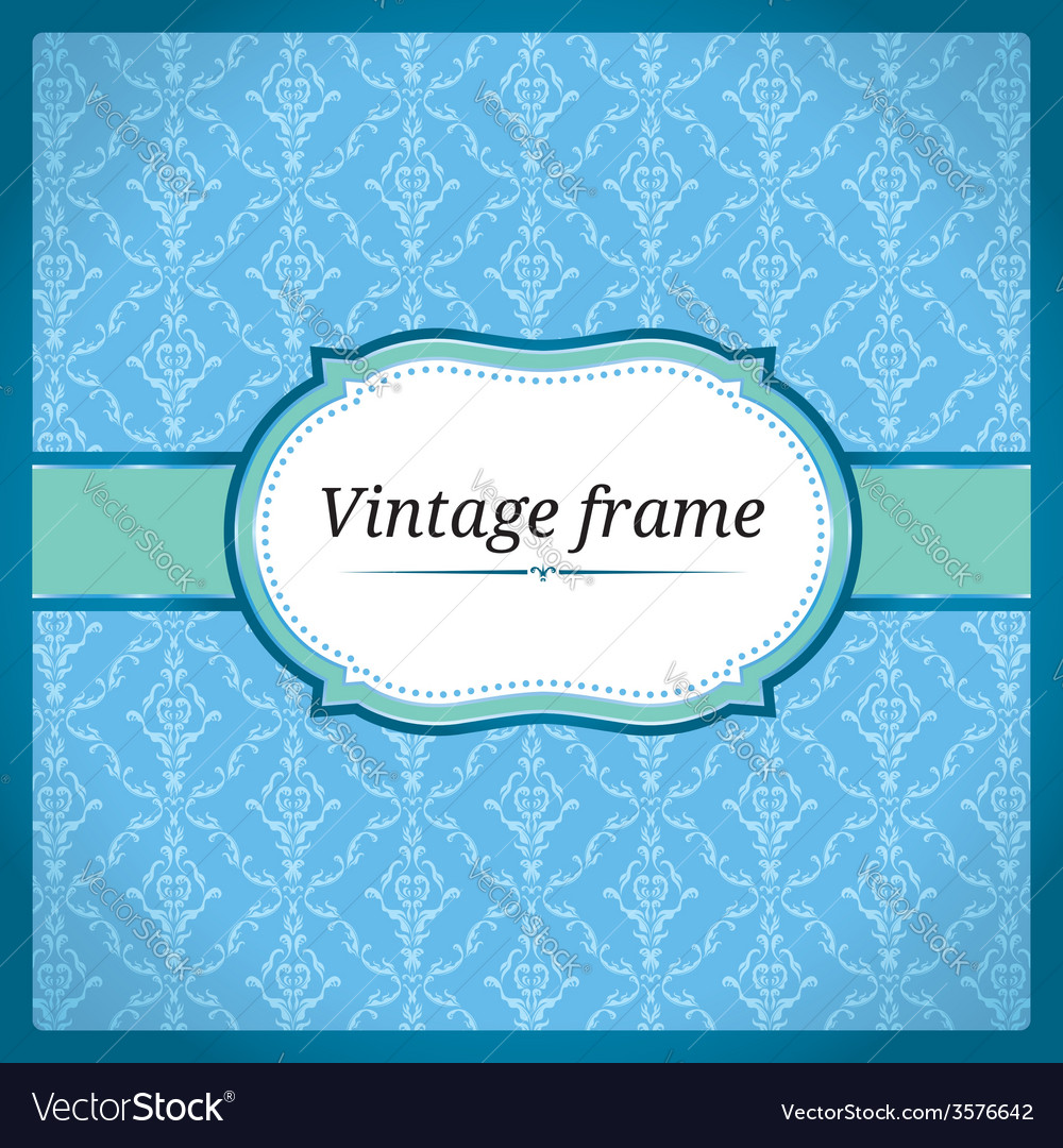 Blue vintage frame vector | Price: 1 Credit (USD $1)