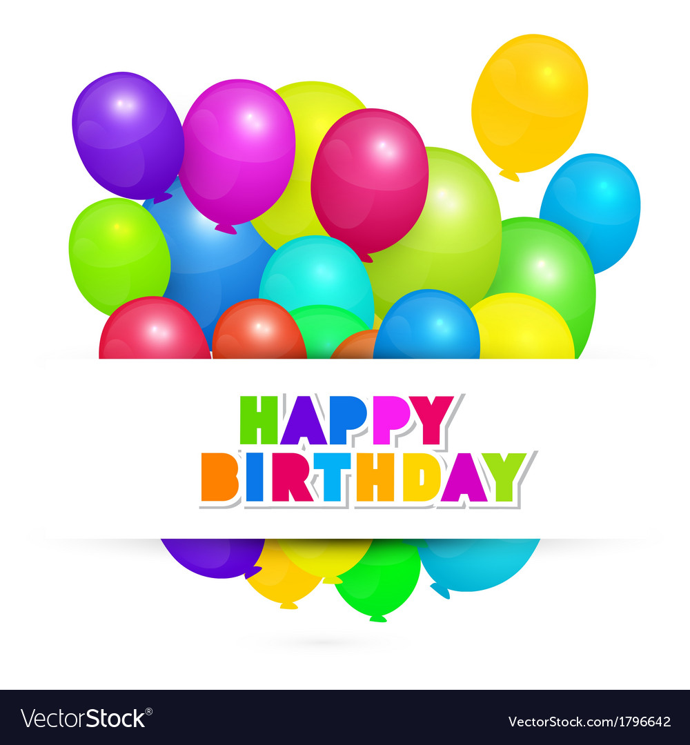 Colorful balloons - happy birthday background vector | Price: 1 Credit (USD $1)
