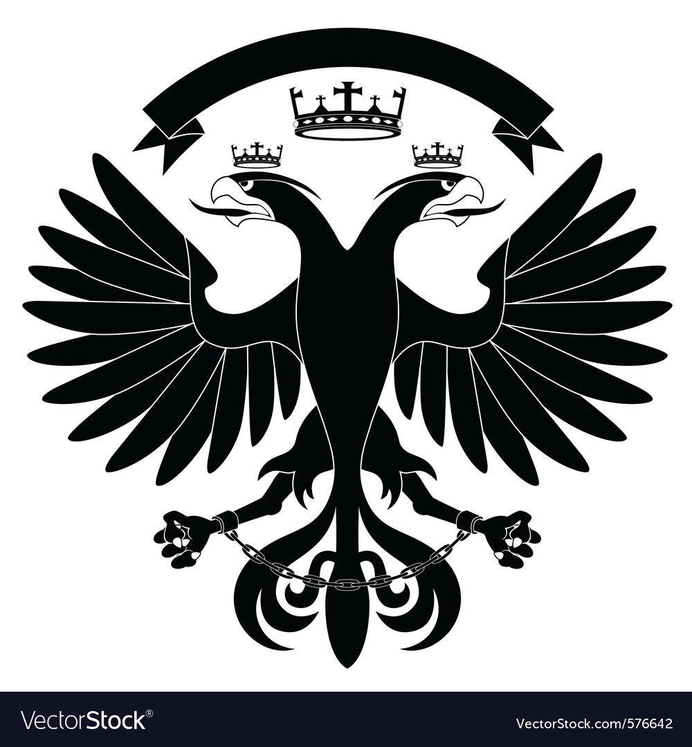 Doubleheaded heraldic eagle with crown vector | Price: 1 Credit (USD $1)