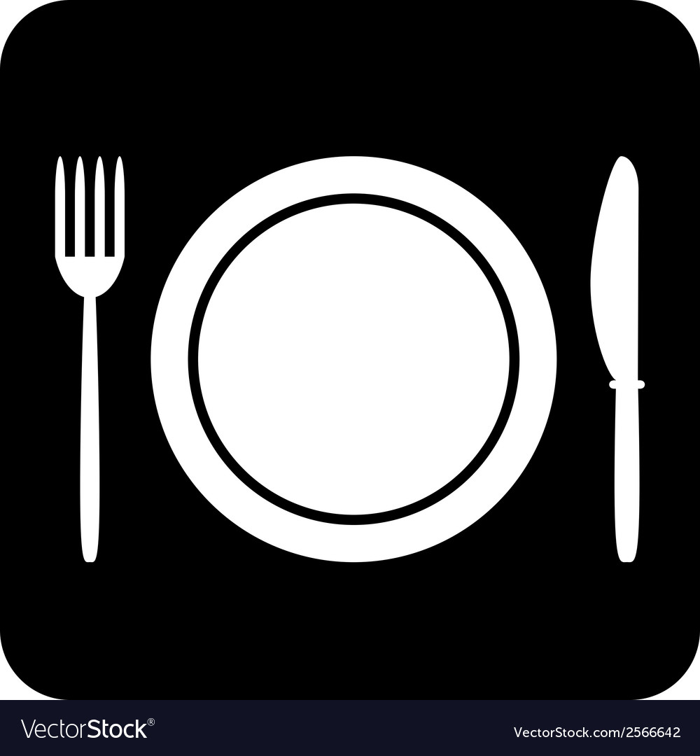 Fork plate and knife button vector   Price: 1 Credit (USD $1)