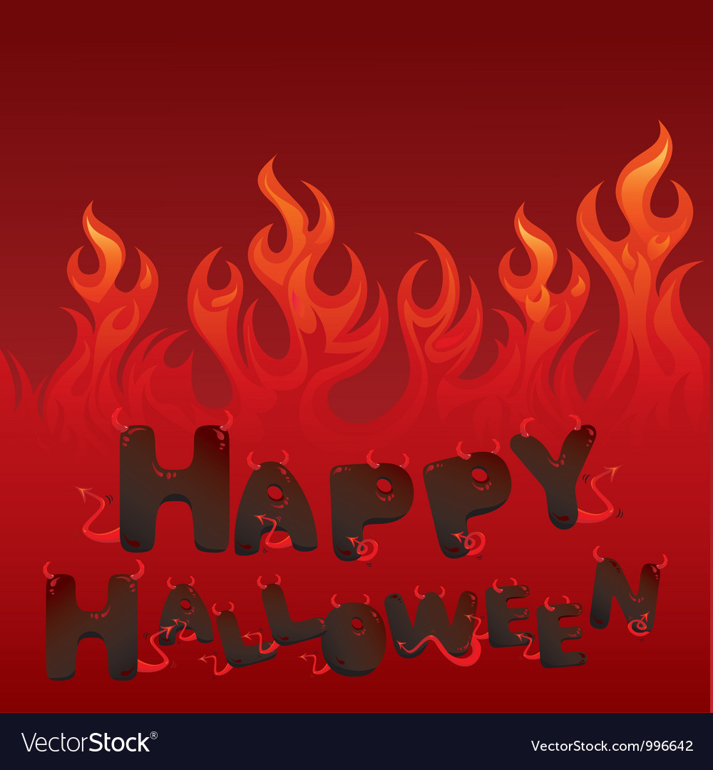 Halloween card with flaming texture vector | Price: 1 Credit (USD $1)