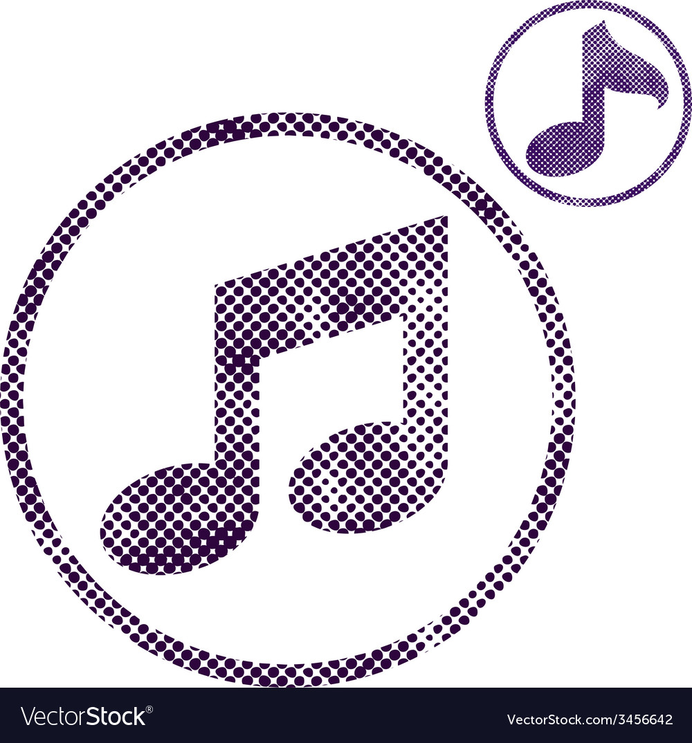 Music note icon with halftone dots print texture vector | Price: 1 Credit (USD $1)