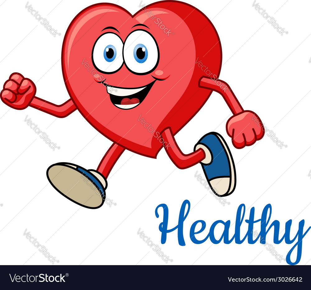 Running healthy red heart character vector | Price: 1 Credit (USD $1)