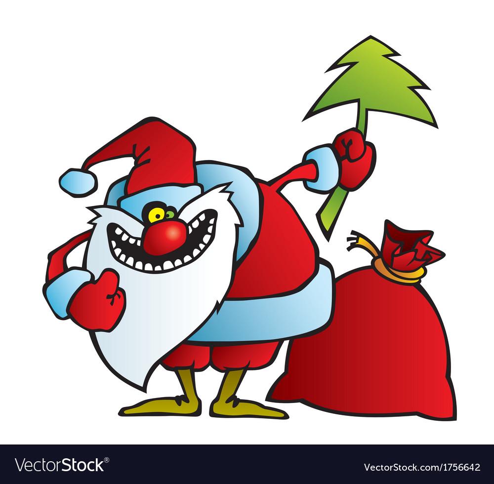 Santa with a crazy smile vector | Price: 1 Credit (USD $1)