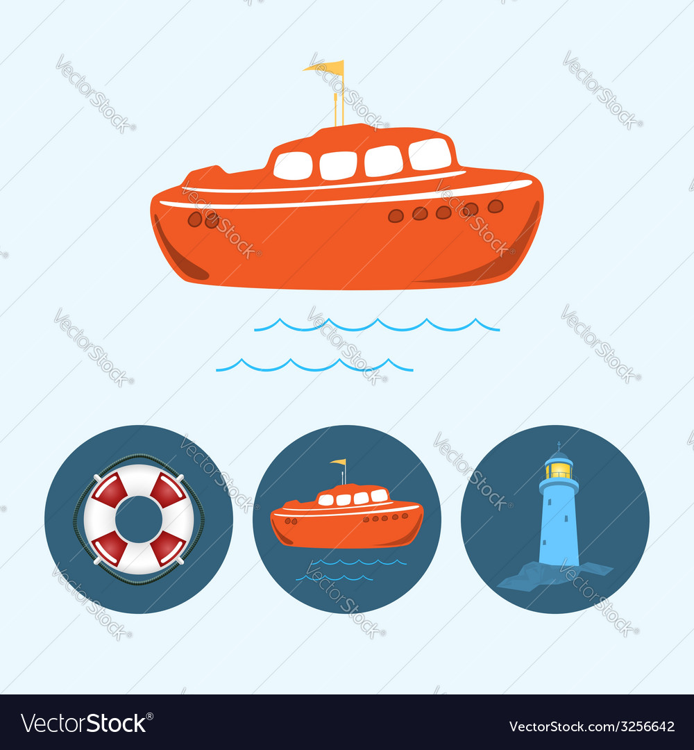 Set icons with boat life buoy lighthouse vector | Price: 1 Credit (USD $1)