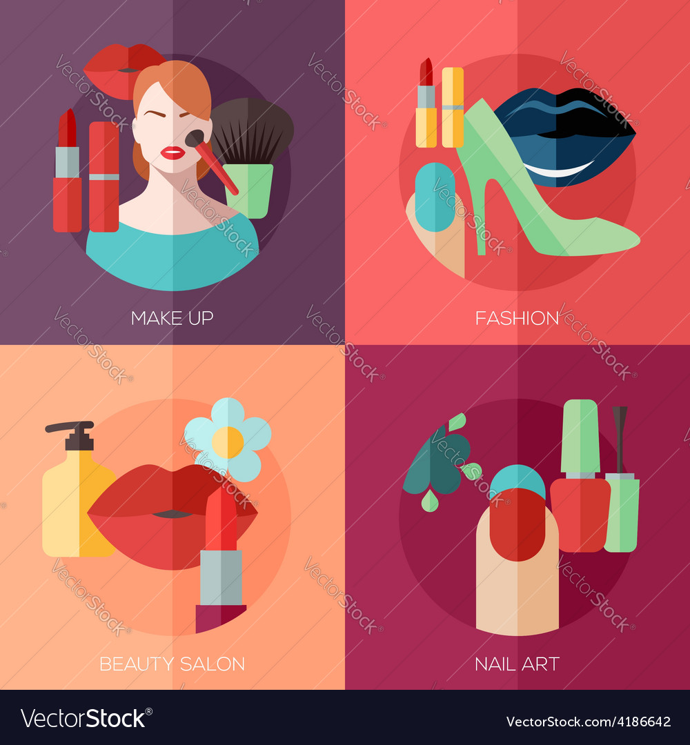 Set of flat design concept icons for make up vector | Price: 3 Credit (USD $3)