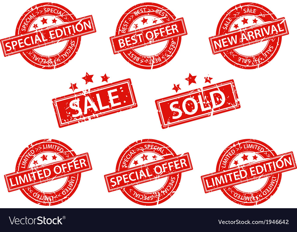 Set of rubber stamps sale vector | Price: 1 Credit (USD $1)