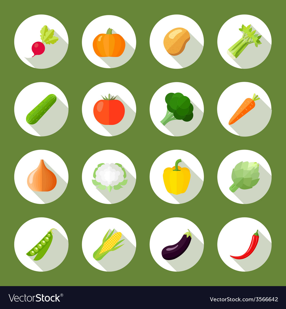 Vegetables icons flat set vector | Price: 1 Credit (USD $1)