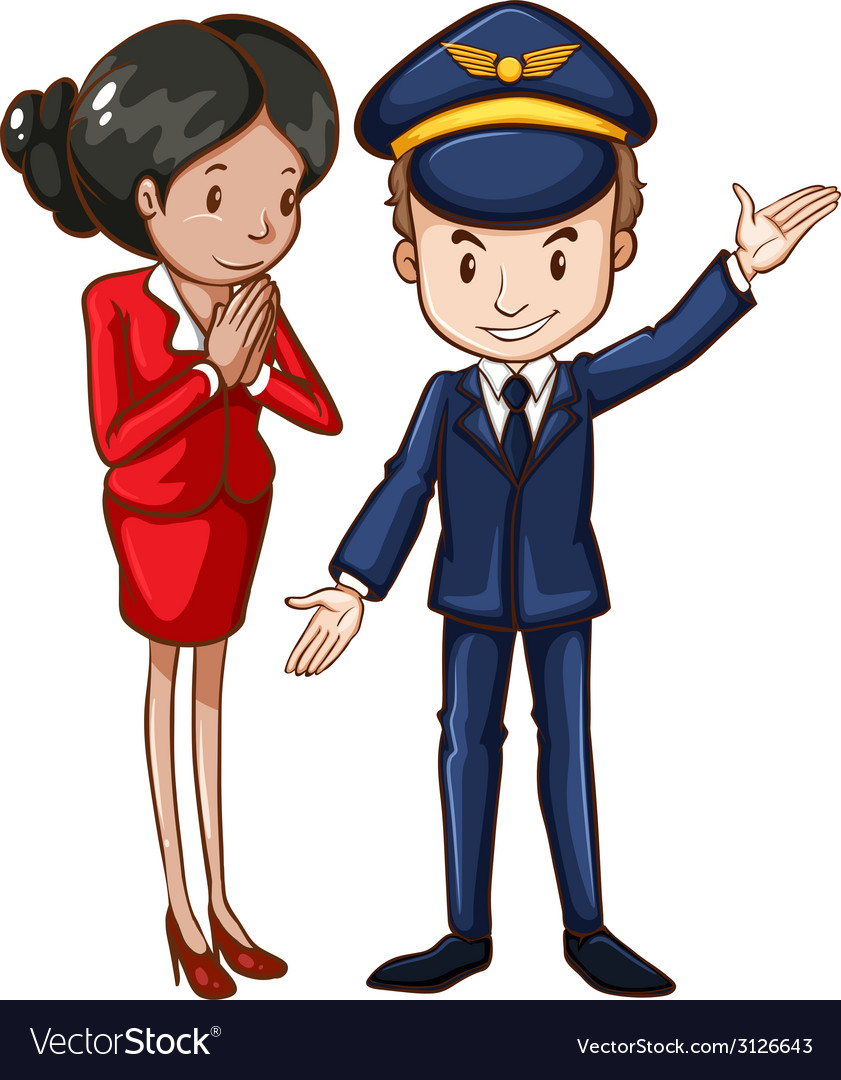 A simple drawing of an air hostess and a pilot vector | Price: 1 Credit (USD $1)