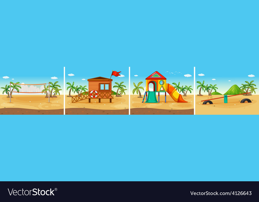 Beach scene vector | Price: 3 Credit (USD $3)