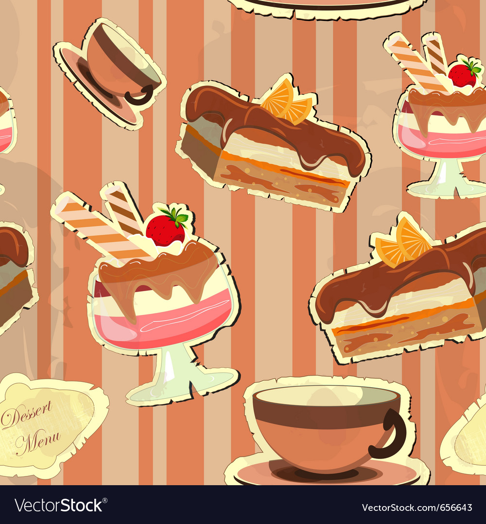 Beautiful vintage card with a strawberry dessert vector | Price: 1 Credit (USD $1)