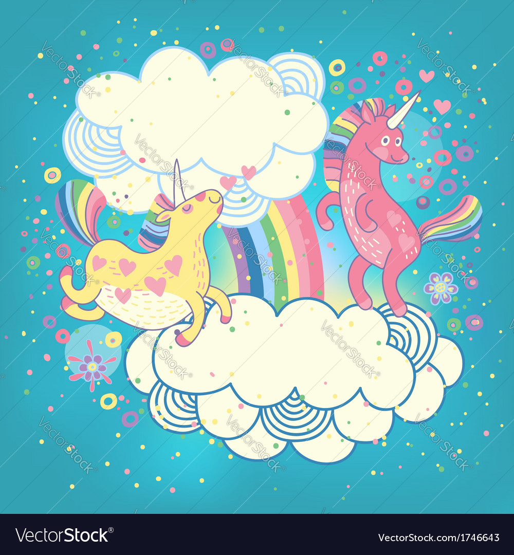 Card with a cute unicorns rainbow in the clouds vector | Price: 1 Credit (USD $1)