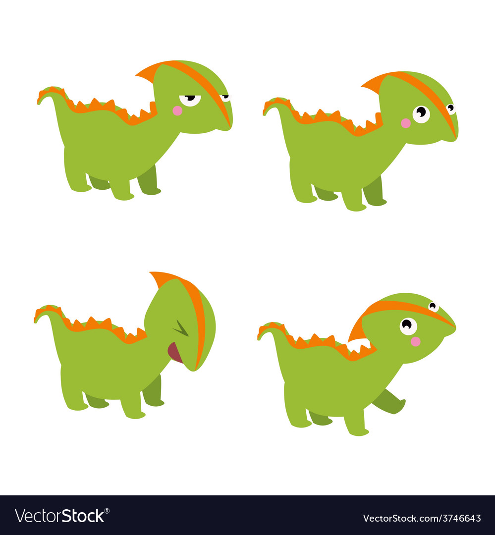 Green dinosaur characters vector | Price: 1 Credit (USD $1)