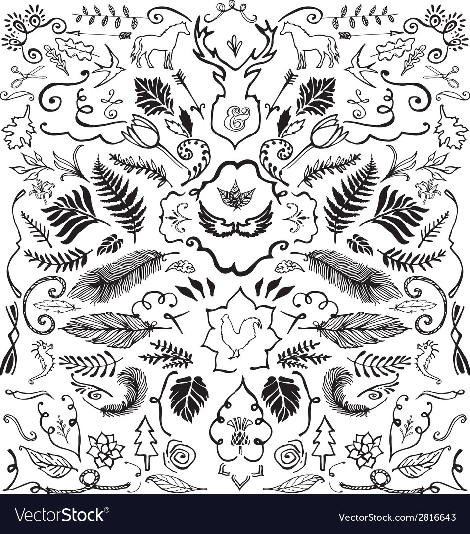 Hand drawn vintage design elements vector | Price: 1 Credit (USD $1)