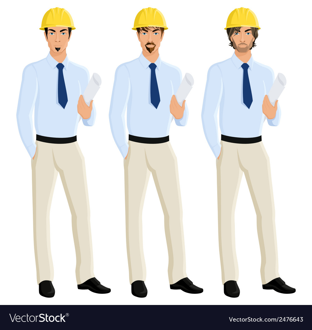 Man engineer portrait set vector | Price: 1 Credit (USD $1)