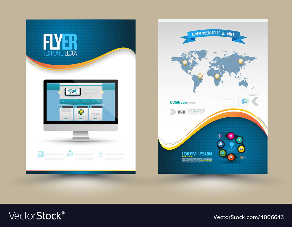 Poster templates with website on computer template vector | Price: 1 Credit (USD $1)
