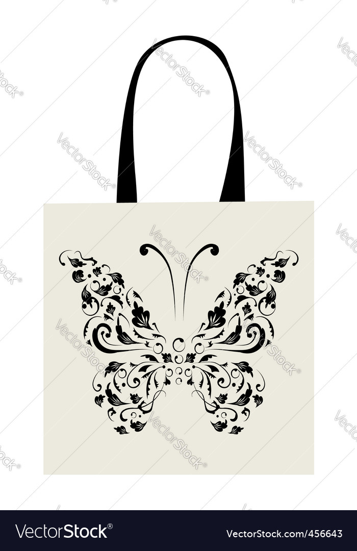 Shopping bag design vintage butterfly vector | Price: 1 Credit (USD $1)
