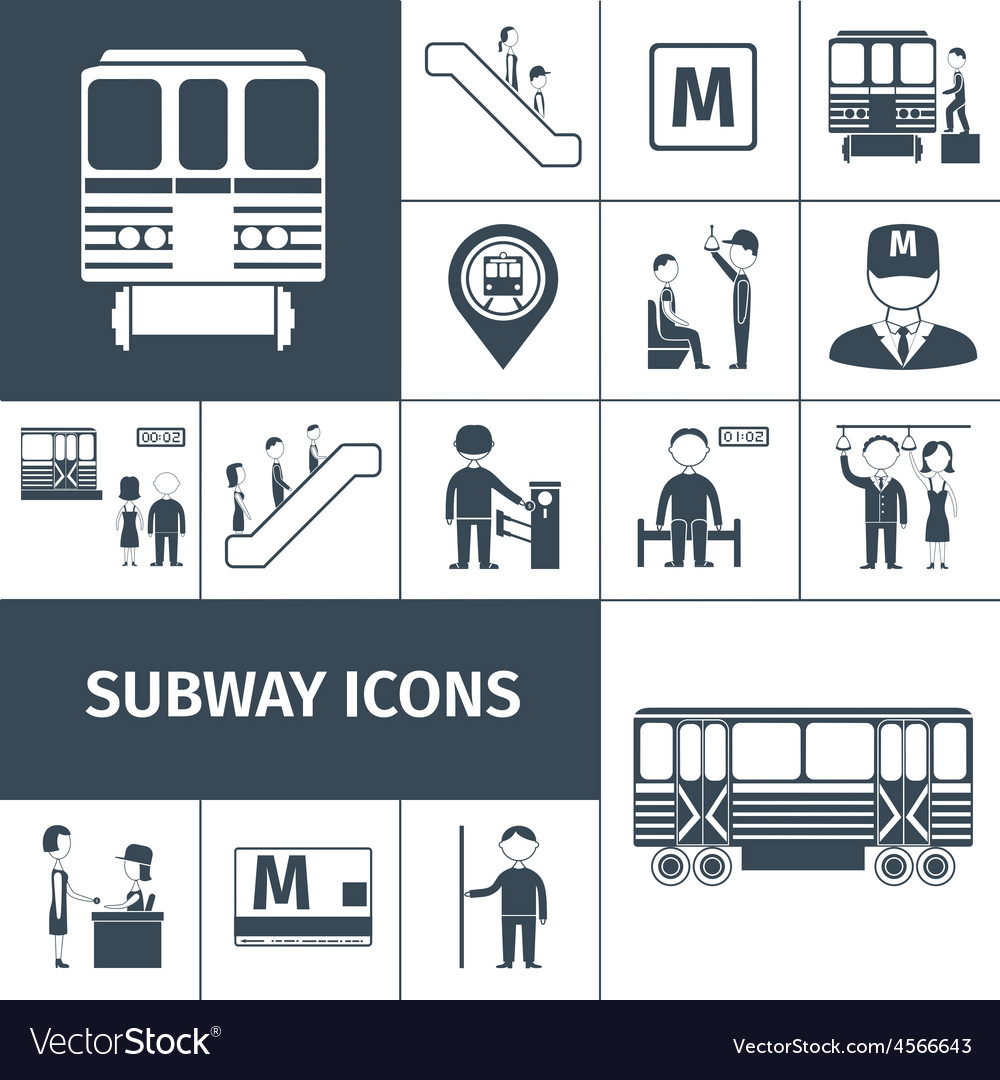 Subway icons black vector | Price: 1 Credit (USD $1)