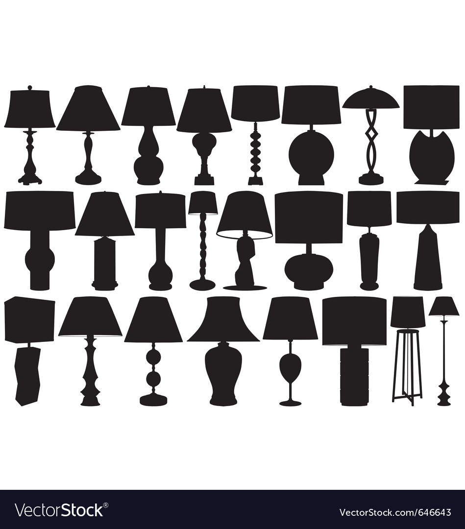 Table and floor lamps vector | Price: 1 Credit (USD $1)