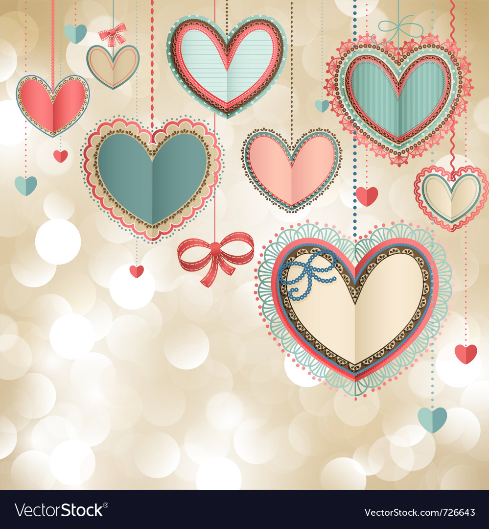 Valentines day vintage card vector | Price: 1 Credit (USD $1)