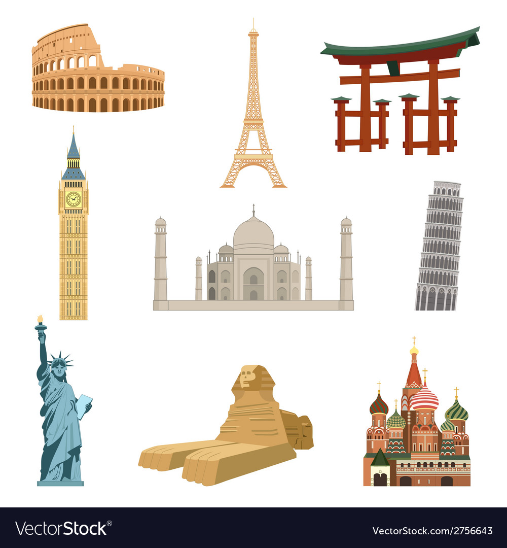 World famous landmarks vector | Price: 1 Credit (USD $1)