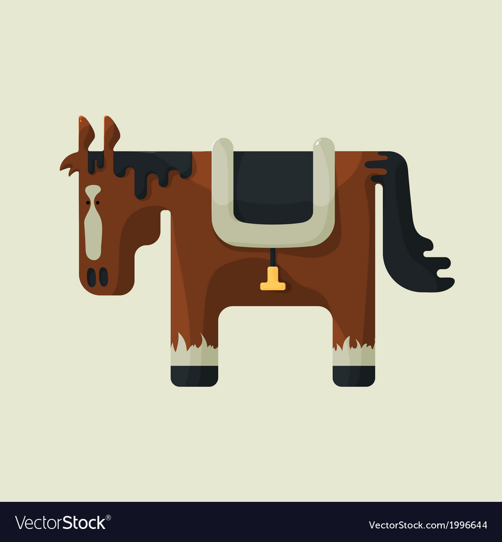 Brown square shape cute horse standing sideways vector | Price: 1 Credit (USD $1)
